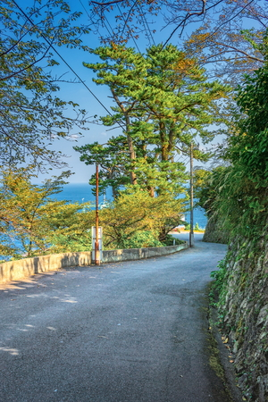 Mountain road at seaside near Atami city, Shizuoka prefecture, Japan