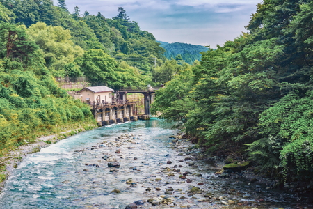 View of Kinugawa river near Kinugawa Onsen Hotel, Nikko, Japan Stock Photo