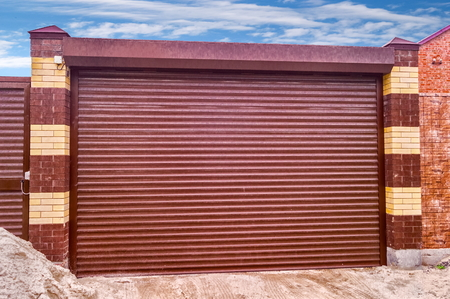 Metal roll up door brown color Stock Photo