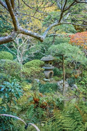 Ancient stone lantern in Japanese park