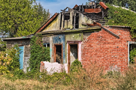 Old ruined brick house