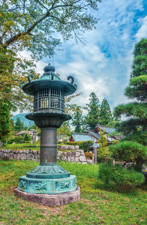 Traditional Japanese metal park lantern