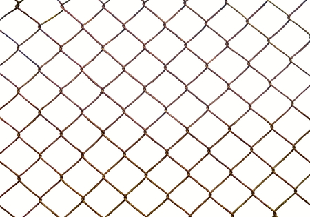 Wire fence isolated on white Banco de Imagens