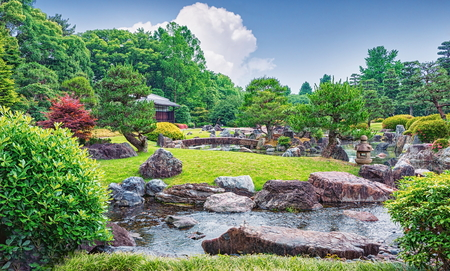 Beautiful pond and landscape near Golden Pavilion Temple in Kyoto, Japan