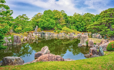 Beautiful pond near Golden Pavilion Temple in Kyoto, Japan Stock Photo