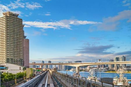 Tokyo monorail transportation system line in Odaiba Foto de archivo