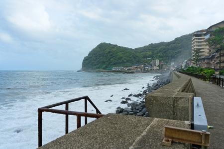 SHIZUOKA, JAPAN - SEPTEMBER 15, 2013 : Typhoon starting. View of Suruga Bay, Shizuoka, Japan