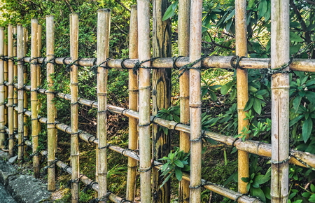 Japanese traditional bamboo fence background