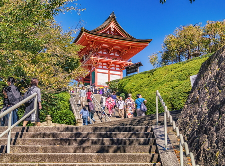 KYOTO, JAPAN - OCTOBER 07, 2015 : Unidentified visitors at Kiyomizu-dera Temple in Kyoto, Japan Editorial