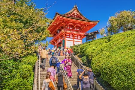 KYOTO, JAPAN - OCTOBER 07, 2015 : Unidentified visitors at Kiyomizu-dera Temple in Kyoto, Japan Editorial