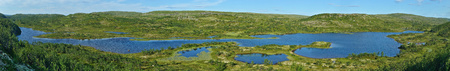 long lake: A long lake in summer tundra panoramic view. Kola peninsula, Russia