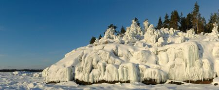 ladoga: Iced rocks and trees. Ladoga Lake, Russia