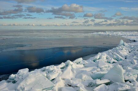 edge of the ice: The edge of the fast ice zone. Ladoga Lake, Russia