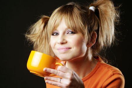 drinking girl Standard-Bild