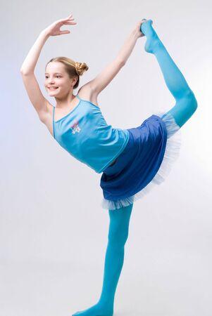 An emotional pretty girl in blue skirt Standard-Bild