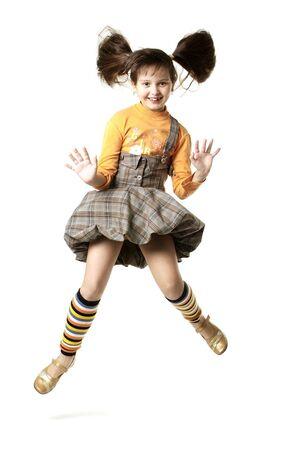 Fun girl jumps in peasant womans dress