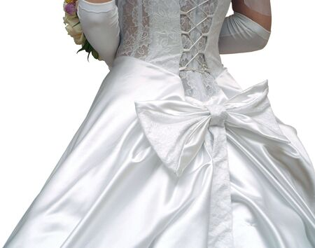 A back view of charming wedding gown Stock Photo