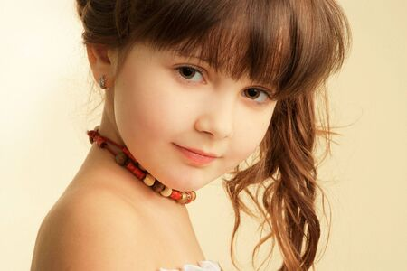 Art studio portrait of little pretty girl Stock Photo