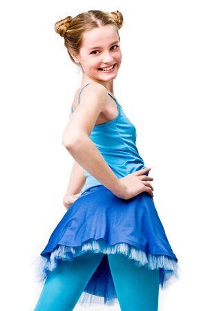 Smiling emotional girl shot on white background Stock Photo