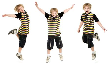 A collage of three jumping boys on white background