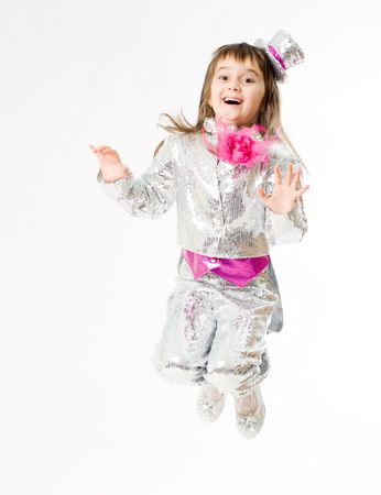 Little Emotional Girl In Carnival Clown Costume Stock Photo Picture
