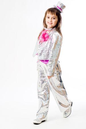 Little emotional girl in carnival clown costume