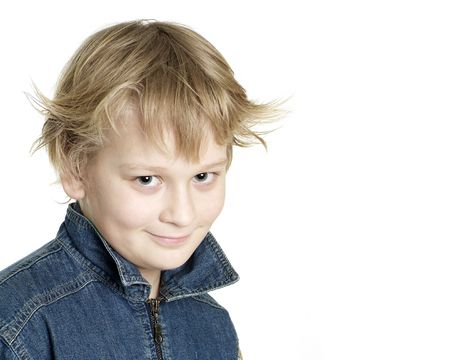 Little sly boy on a white background