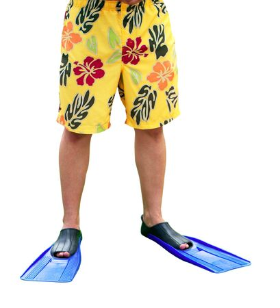 Mens legs in flippers on white background