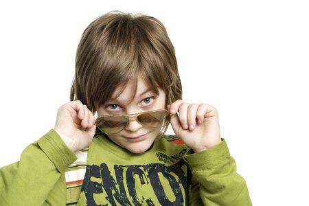 Handsome young boy on a white background Standard-Bild