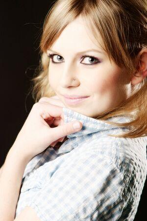 Beautiful teen girl portrait at black background Stock Photo