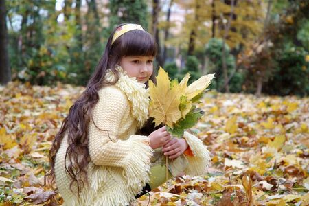 Little beautiful girl in autumn park photo