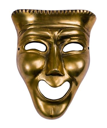 arts culture and entertainment: Classical theatrical gold comedy mask over white