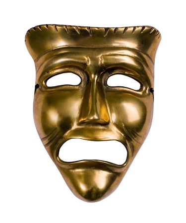 Classical theatrical gold tragedy mask over white
