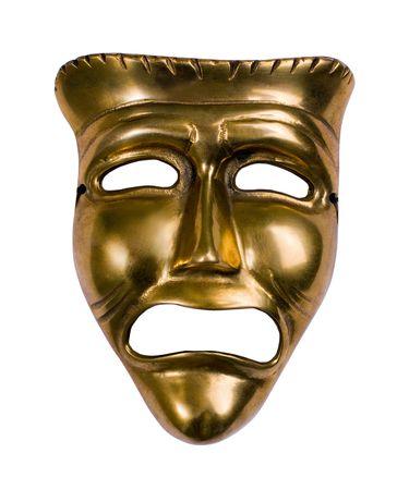 Klassik Theater Gold Tragödie über Maske weiß Standard-Bild - 3583276
