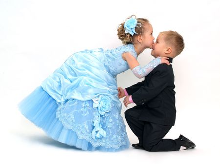 girl bonding: Charming kiss Stock Photo