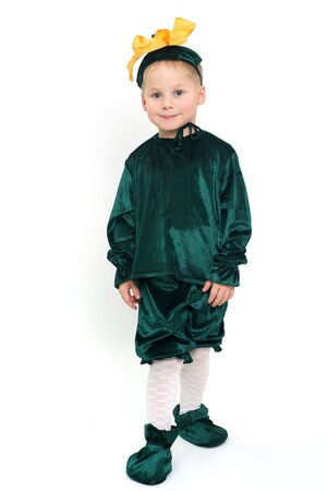 Little cute boy in green costume studio shot Stock Photo - 4387185