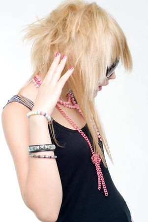Young blonde trendy punk girl Stock Photo - 4438446