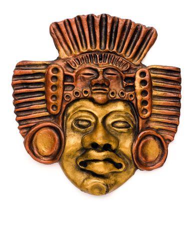 Native americans ceramic mask isolated on white photo