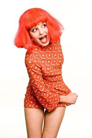Baby Doll roten Haaren schreienden Mädchen in kleinen Kleid Standard-Bild - 4484882