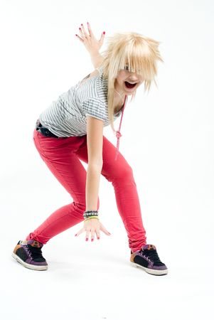 Screaming blonde emo girl at white background
