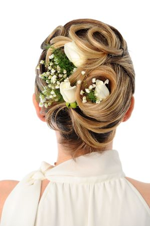 wedding hairstyle: Back view of elegant wedding hairstyle with roses Stock Photo