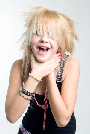 Freaky trendy blond teenage girl choking herself