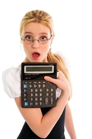 Surprised pretty blond girl showing a calculator photo