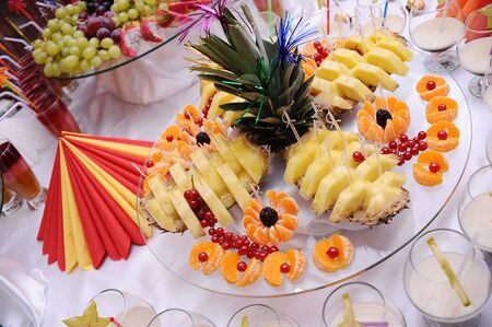 Sweet fruits decorated on the plate photo