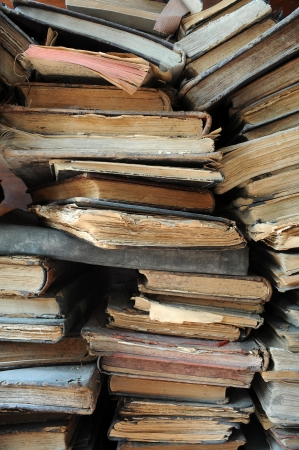 stacked books: Pile of old worn books  Stock Photo