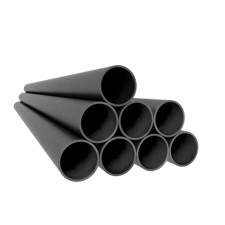 Stacked black plastic industrial tubes photo