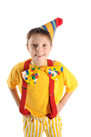 Astonished boy dressed for birthday party photo