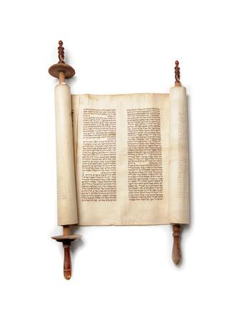 jewish background: Roll of antique jewish authentic Torah Stock Photo