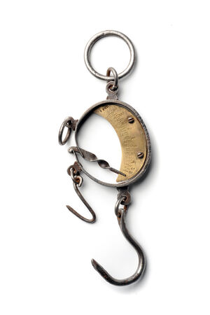counterpoise: Vintage scales with hook balancing at white