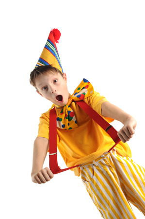 Expressive shouting boy wearing bright carnival costume Standard-Bild